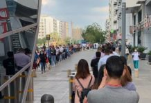 Dubai metro coronavirus queue